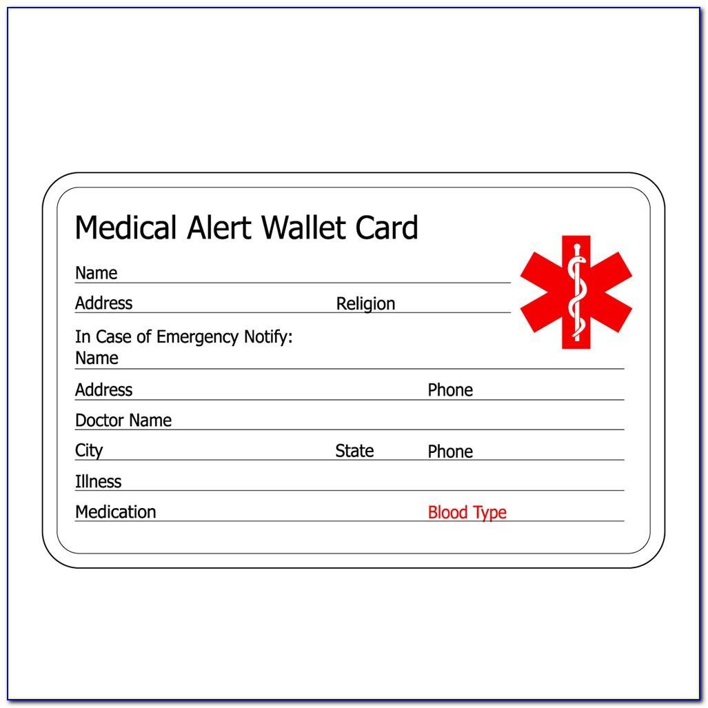 Free Medical Alert Card For Wallet