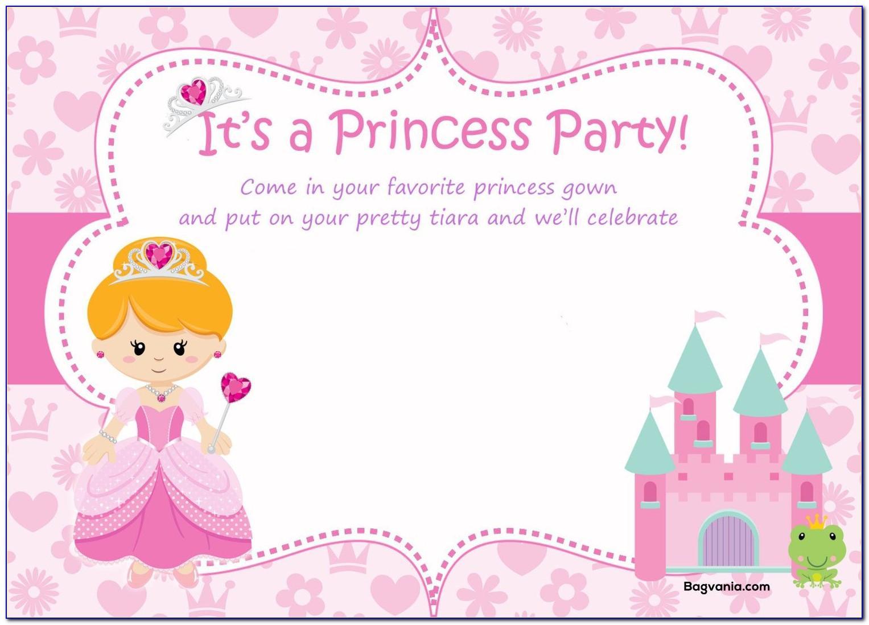 Free Princess Birthday Card Template