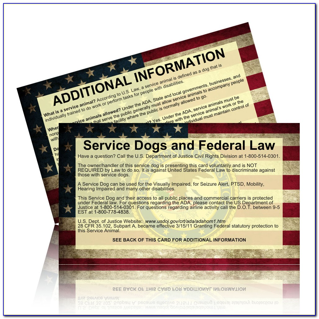 Free Printable Ada Service Dog Card