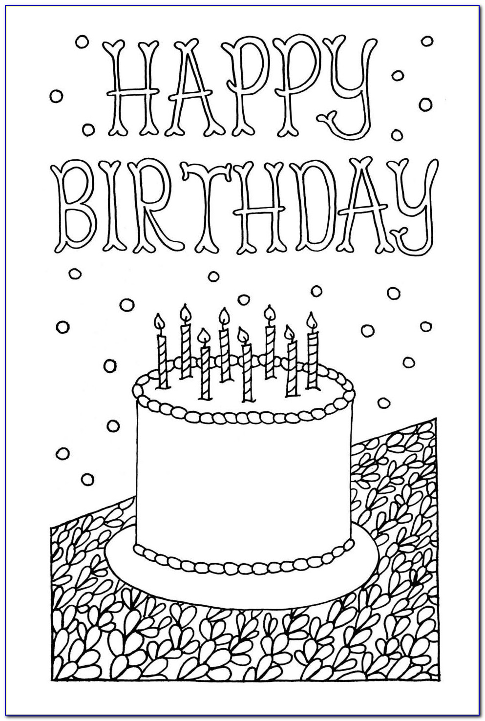 Free Printable Coloring Birthday Cards
