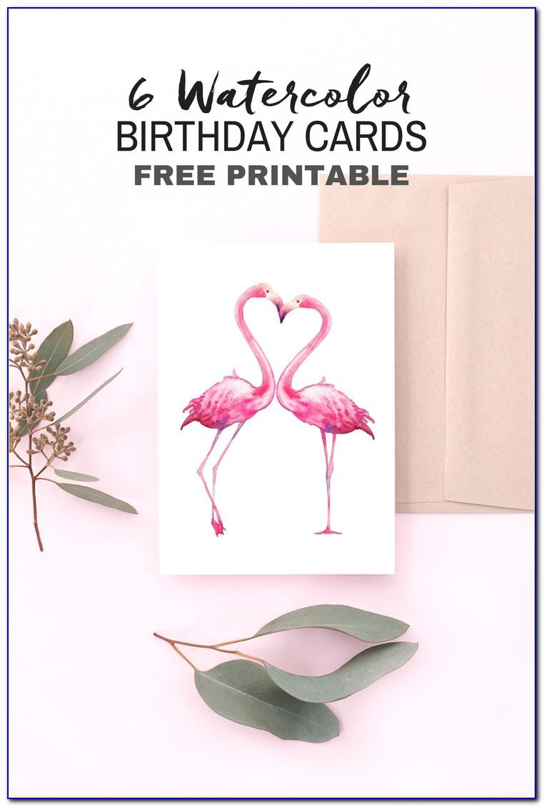 Free Printable Flamingo Birthday Card