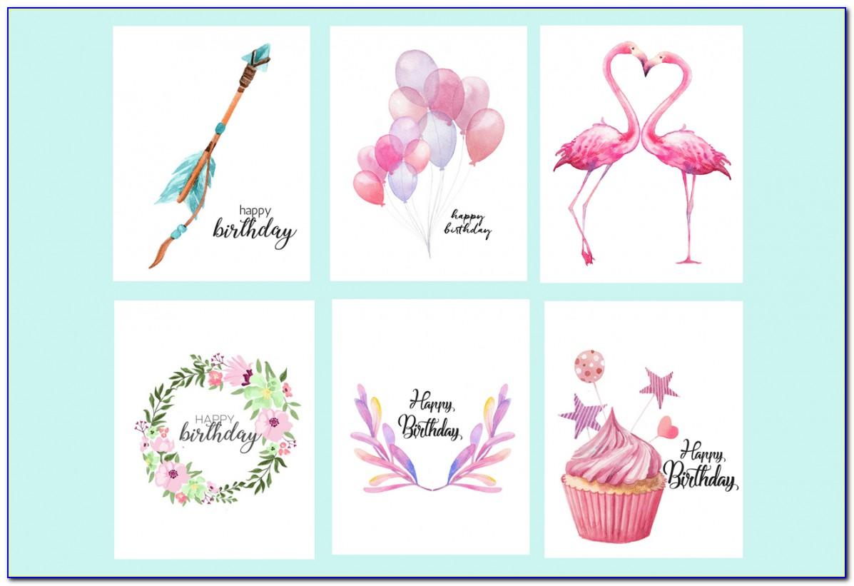 Free Printable Flamingo Birthday Cards