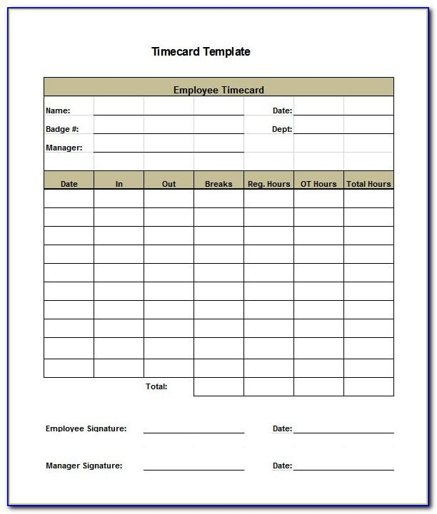 Free Printable Time Cards Templates