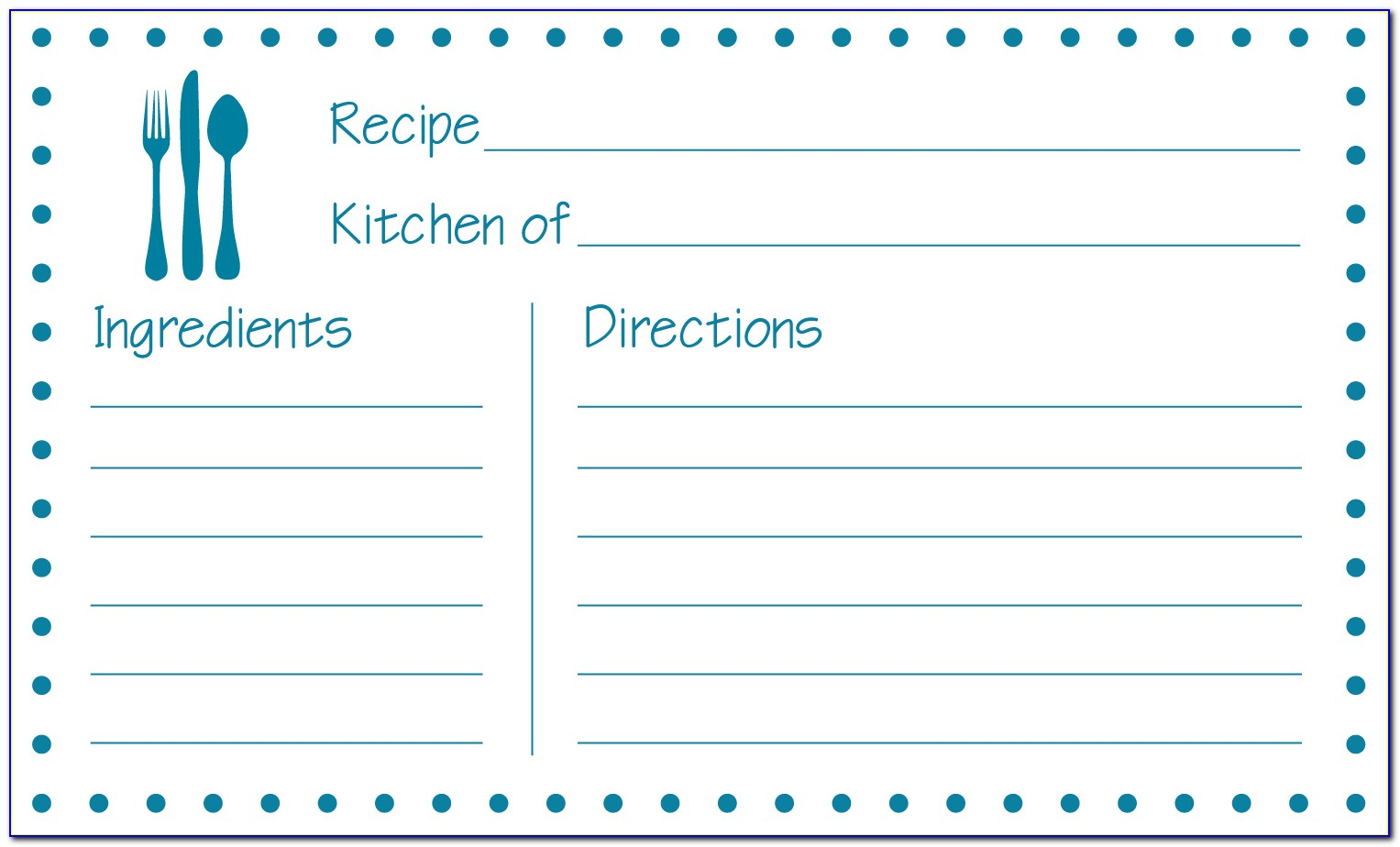 Free Template For Recipe Cards 4x6