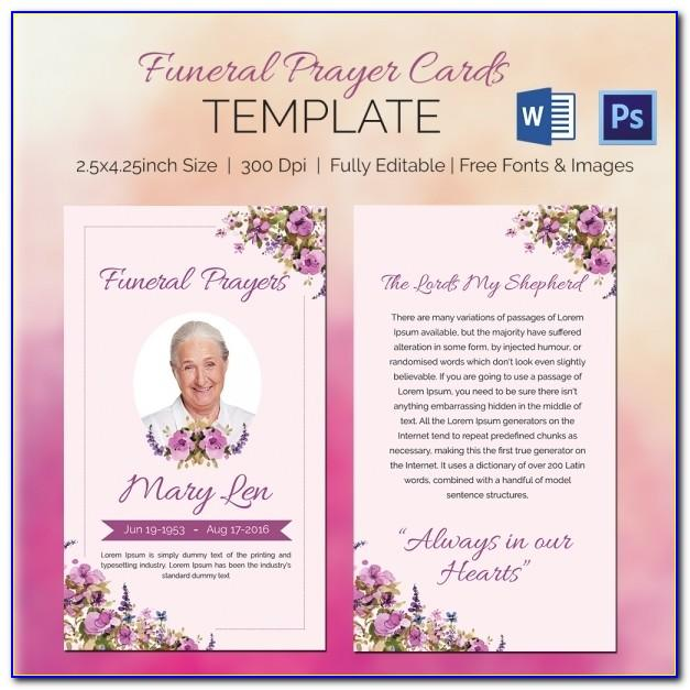 Funeral Prayer Card Template For Word Free