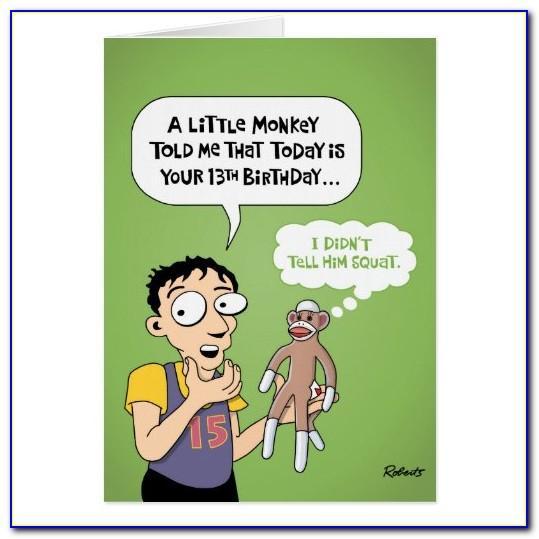 Funny 13th Birthday Cards Printable