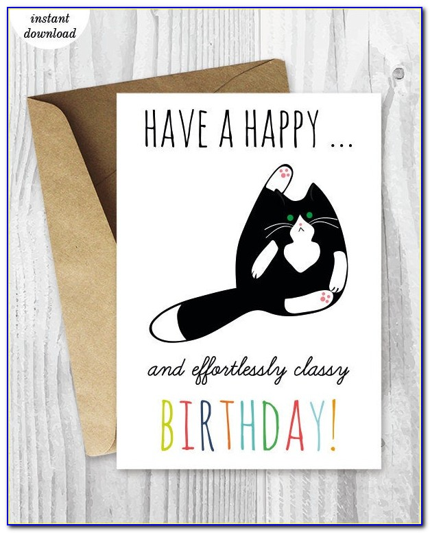 Funny Cat Birthday Cards Printable