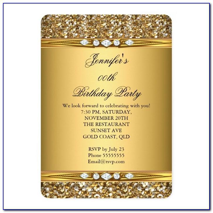 Gold Birthday Invitation Cards