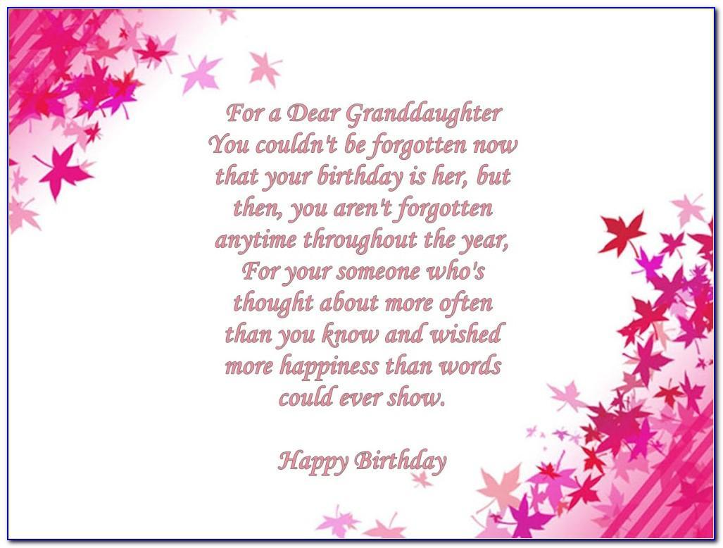 Granddaughter Birthday Cards Verses