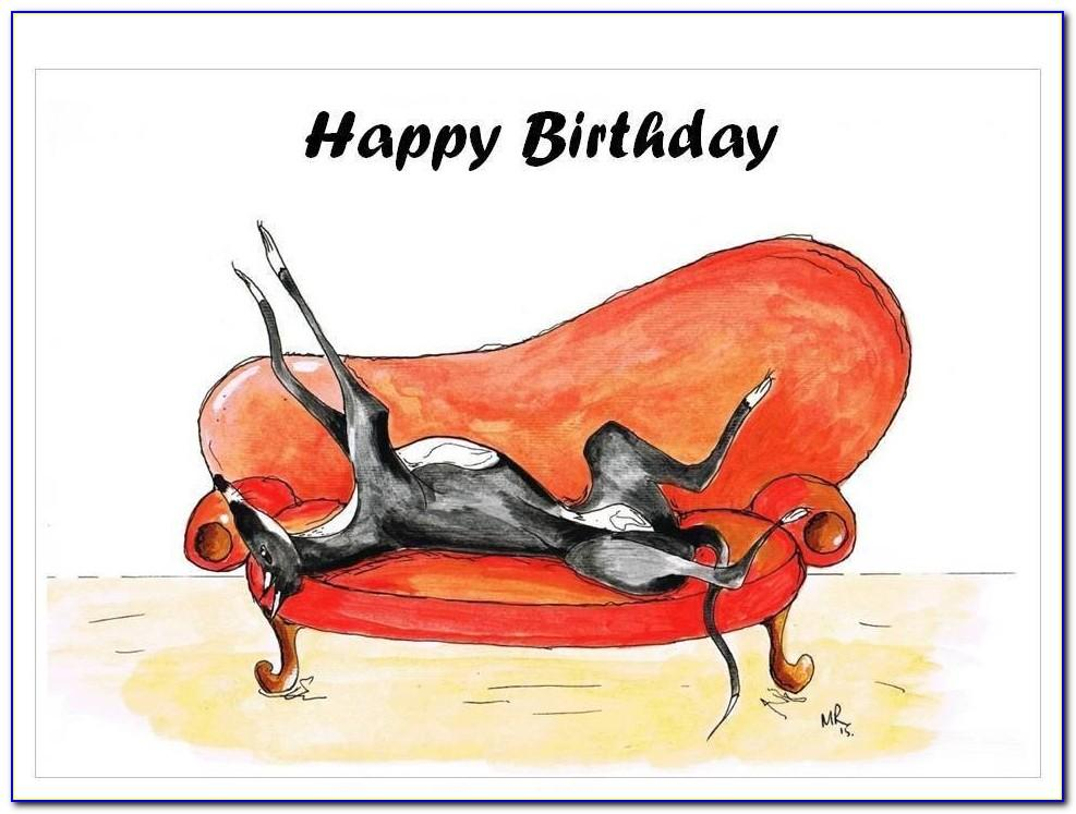 Greyhound Dog Birthday Cards