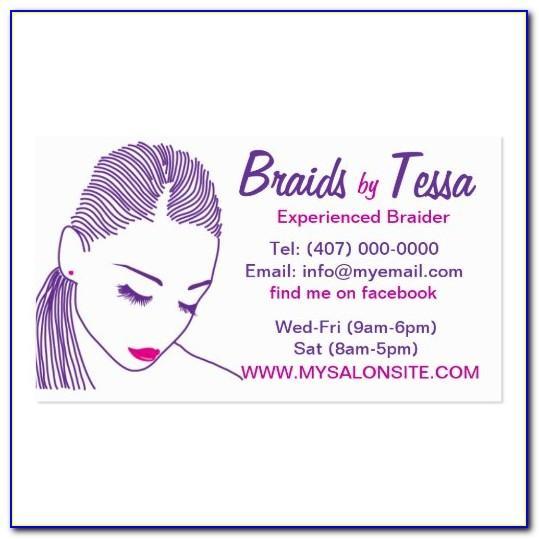 Hair Braiding Business Card Designs