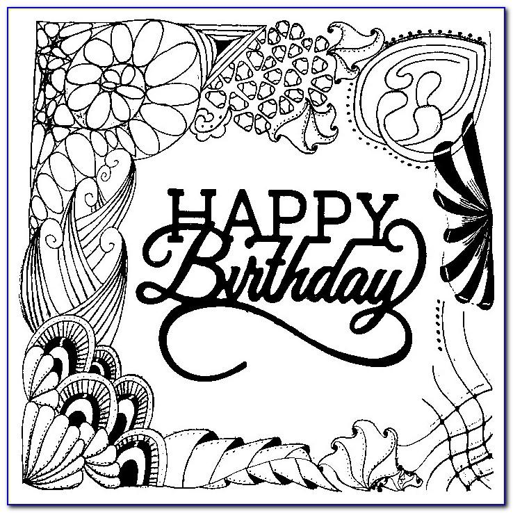 Happy Birthday Coloring Cards For Adults