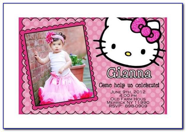 Hello Kitty 7th Birthday Invitation Card