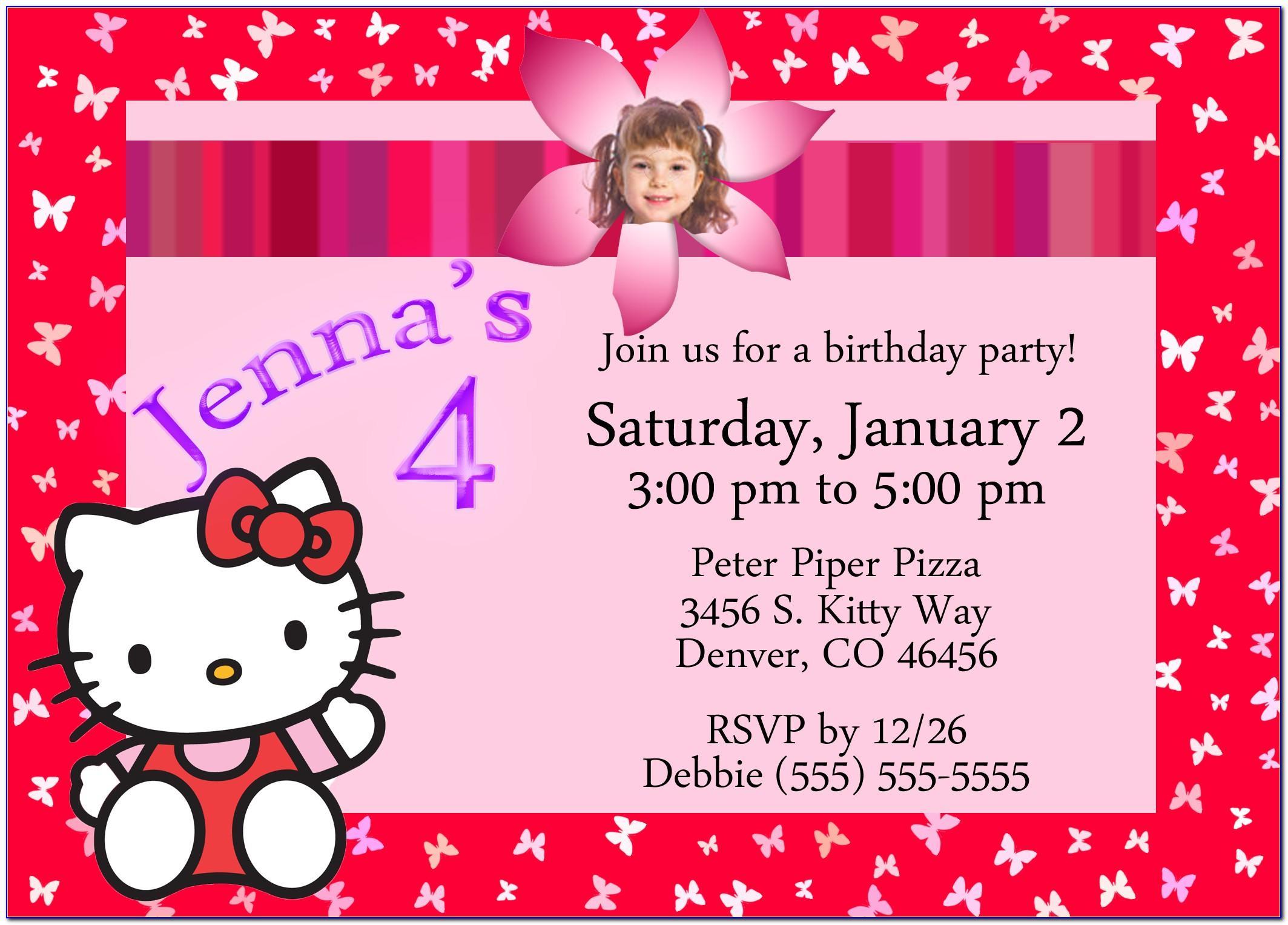 Hello Kitty Birthday Invitation Card Maker