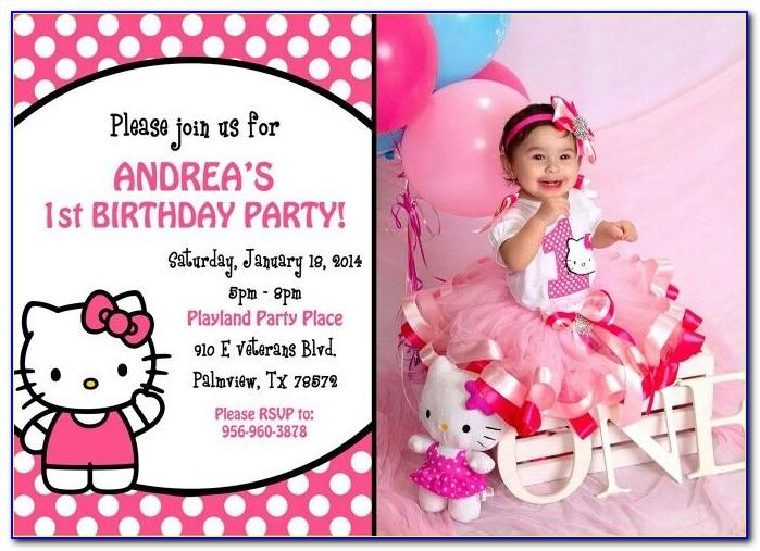 Hello Kitty Invitation Card 1st Birthday