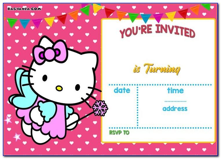 Hello Kitty Invitation Card Blank 1st Birthday