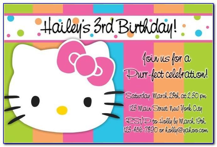 Hello Kitty Invitation Card For 1st Birthday Girl