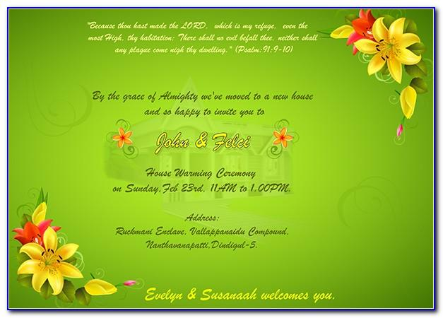 House Warming Ceremony Invitation Cards Templates Free Download Indian