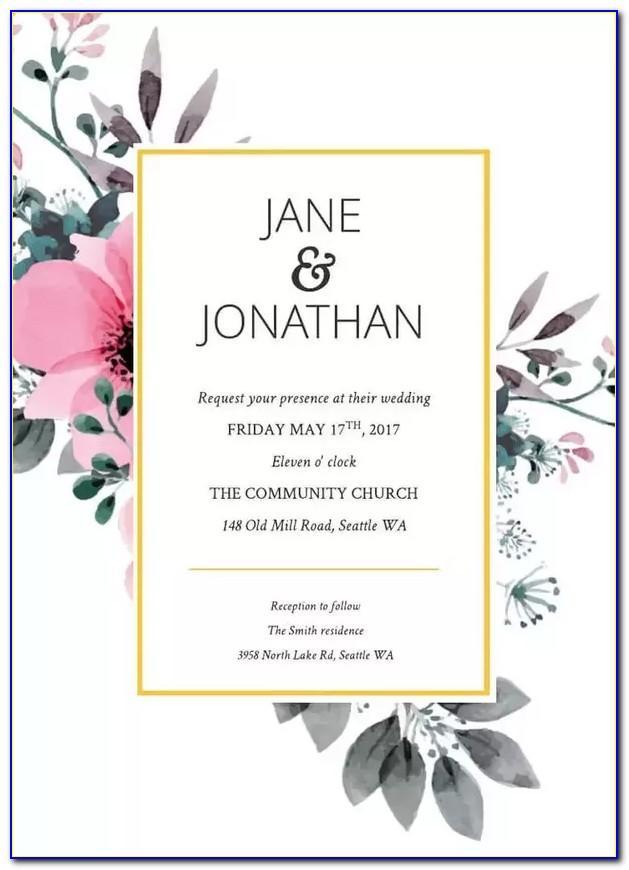 Invitation Card Template Word