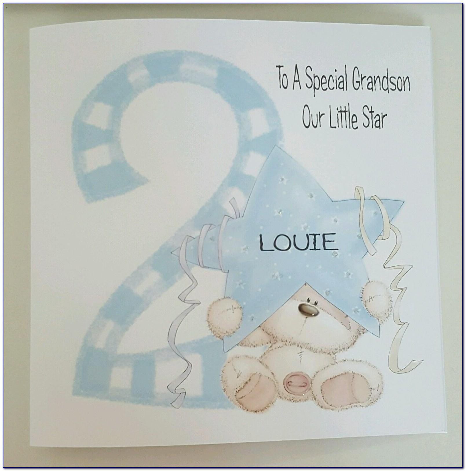 Large Grandson 1st Birthday Card