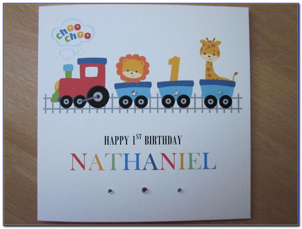 Large Personalised Grandson 1st Birthday Card