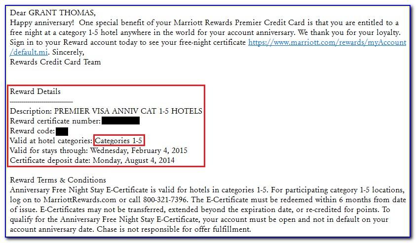 Marriott Credit Card Free Night Certificate