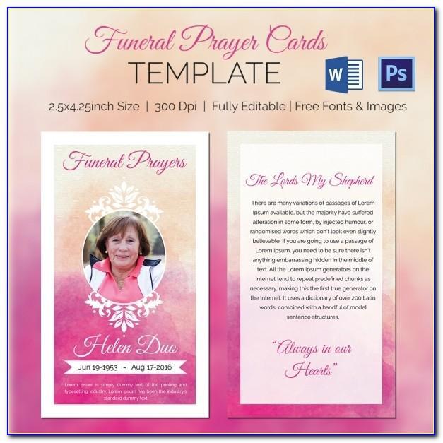 Memorial Prayer Card Template Free