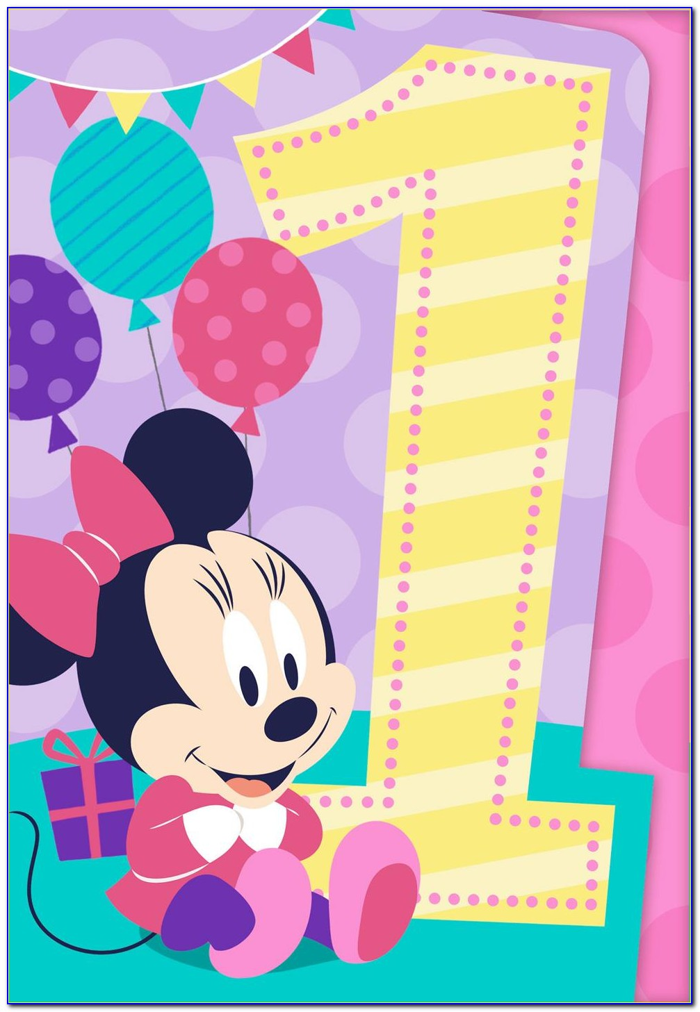 Minnie Mouse 1st Birthday Thank You Cards