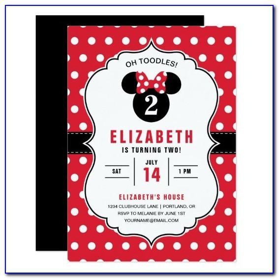 Minnie Mouse Birthday Card Invitation