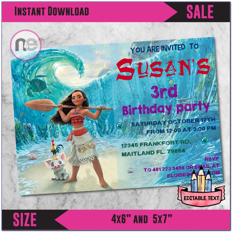 Moana Birthday Card Template