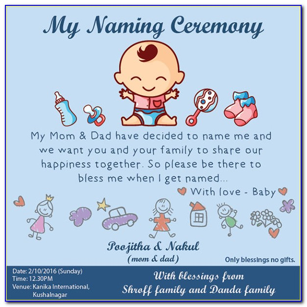 Naming Ceremony Invitation Card Template Free Download Pdf