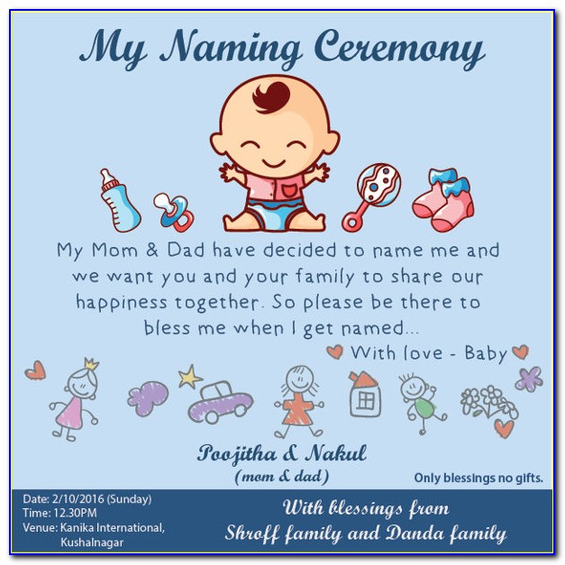 Naming Ceremony Invitation Cards Designs Free Download
