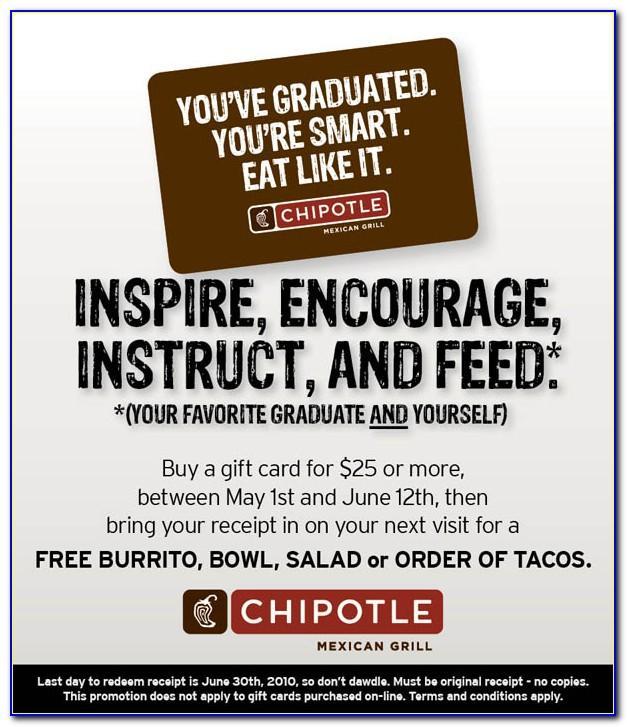 One Free Burrito Card Chipotle