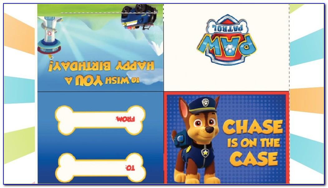 Paw Patrol Birthday Card Invitation