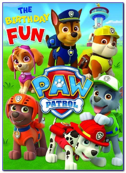 Paw Patrol Birthday Cards Invitation