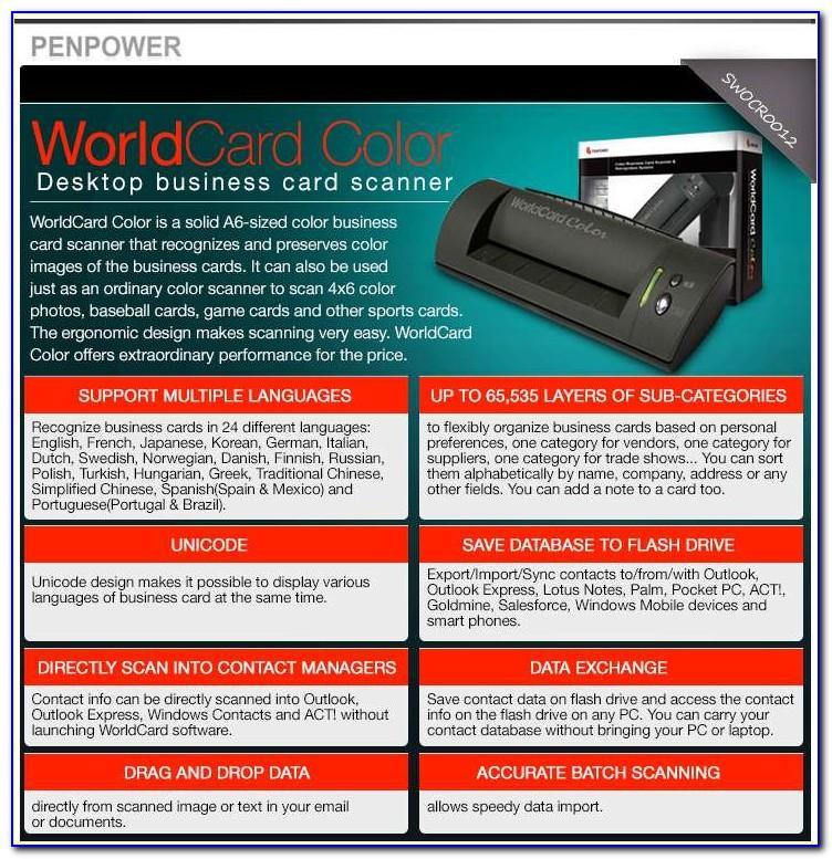 Penpower Worldcard Color Sw Ocr 0012 Business Card Scanner