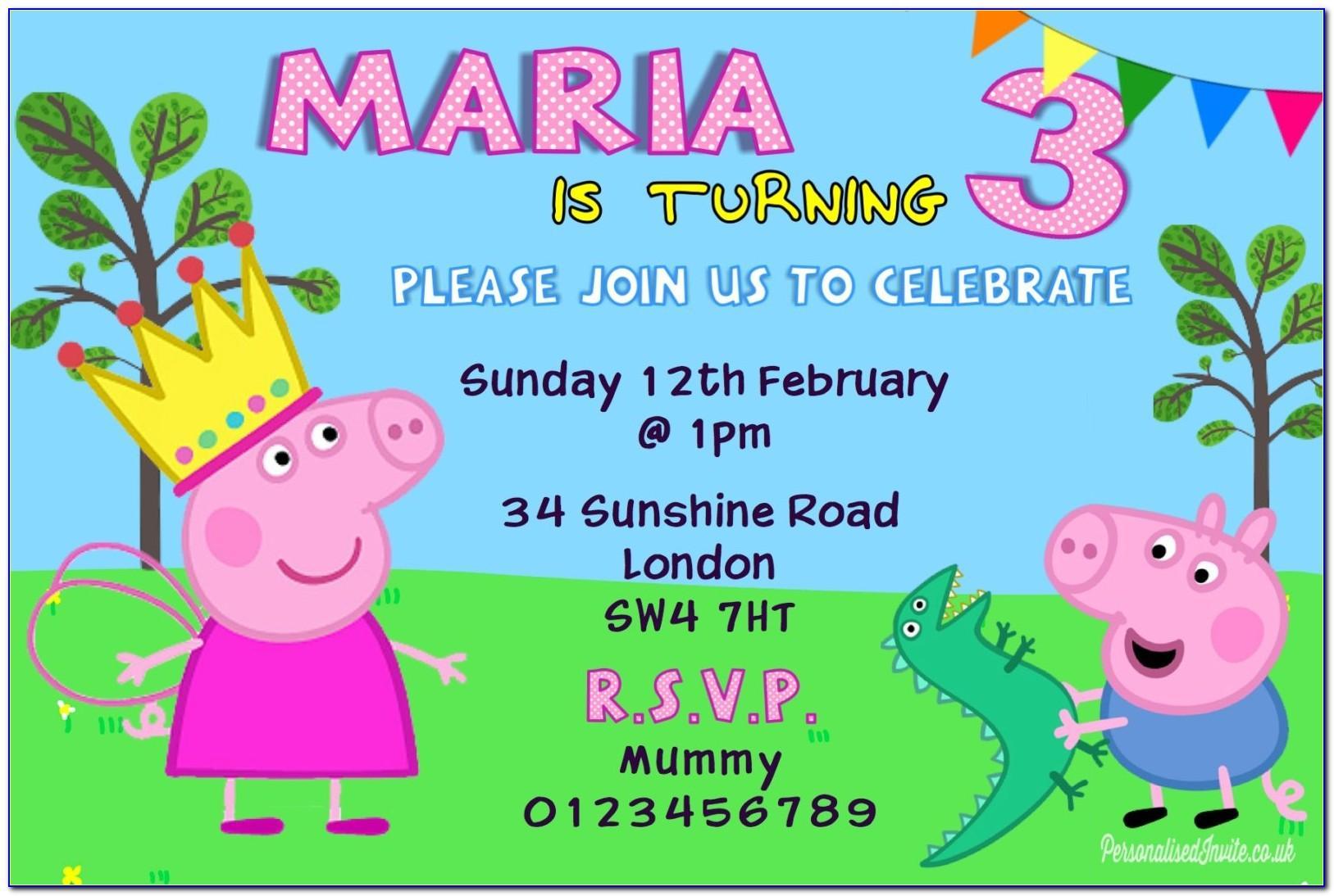 Peppa Pig Birthday Card Age 3