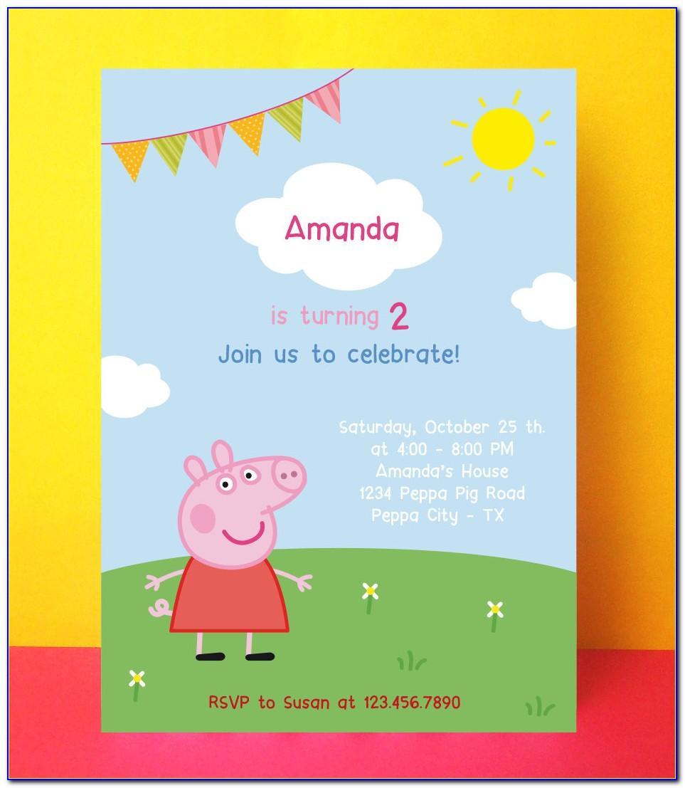 Peppa Pig Birthday Card Invitation