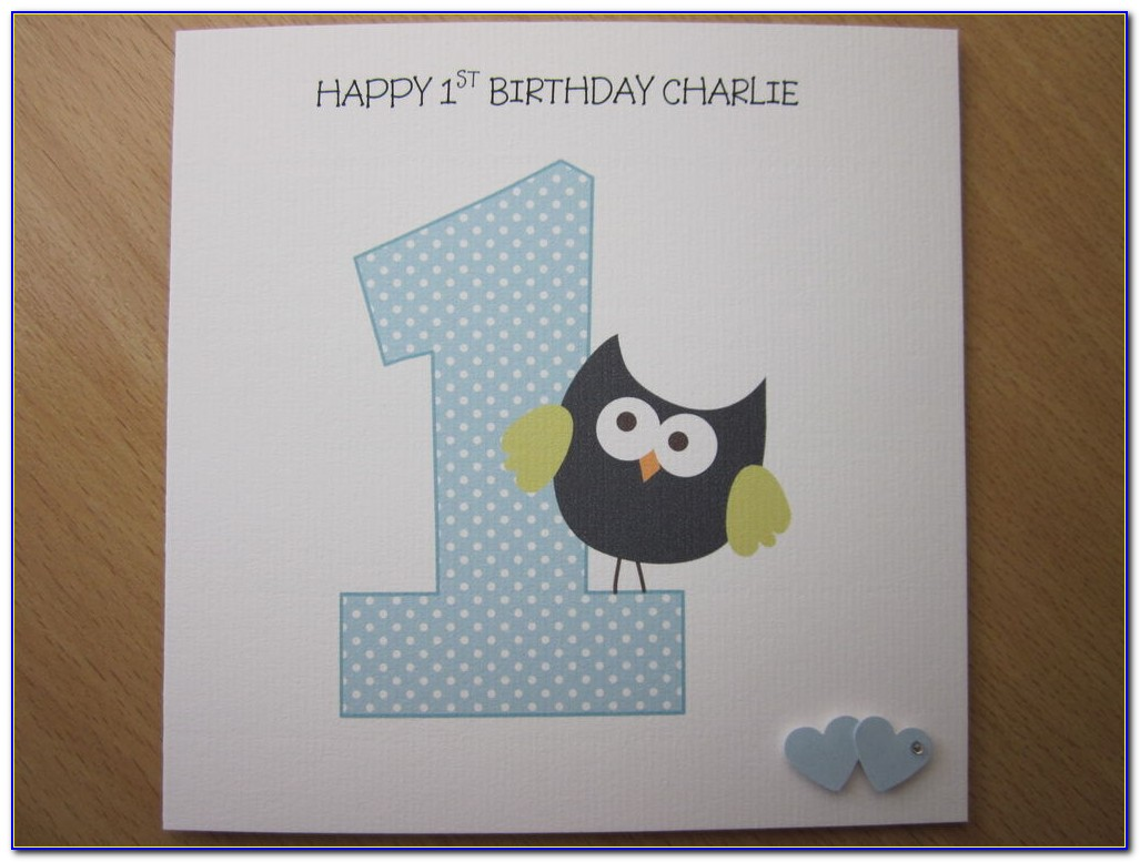 Personalised First Birthday Card Grandson