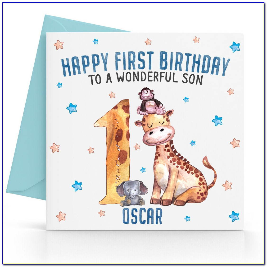 Personalised Granddaughter First Birthday Card