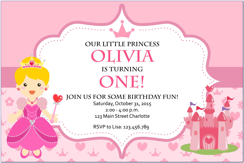 Princess Theme Birthday Card