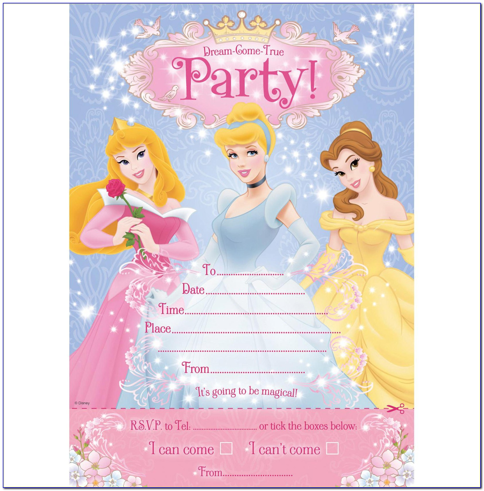 Princess Theme Birthday Invitation Card Free