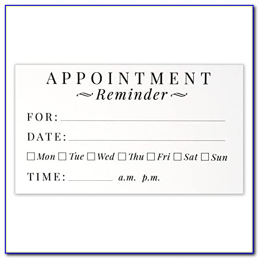 Printable Appointment Reminder Cards Template Free