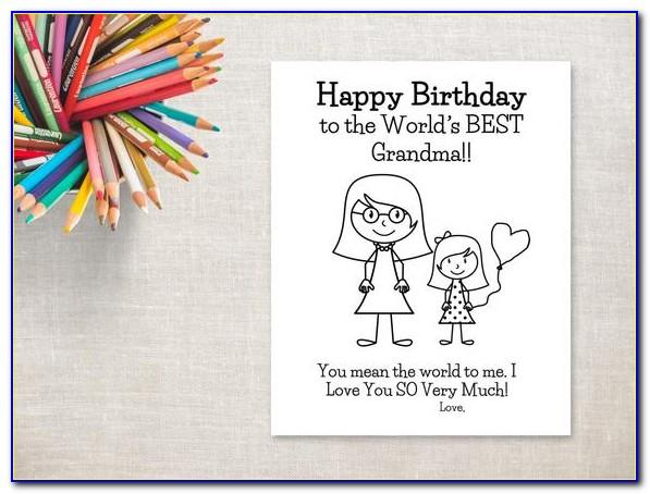 Printable Coloring Birthday Cards For Grandma