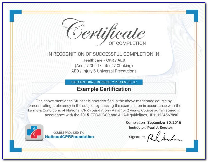Printable Cpr Certification Card Free