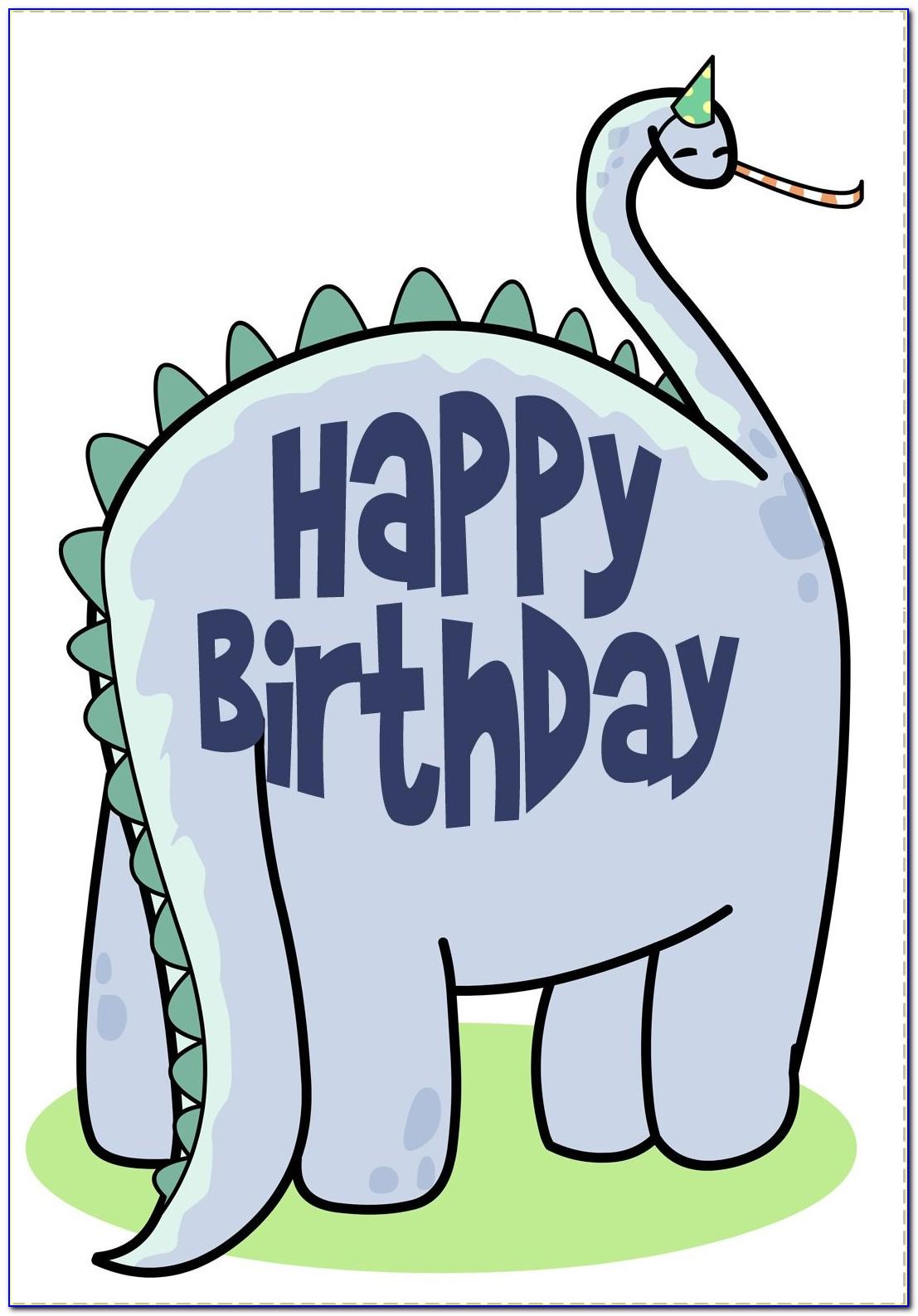 Printable Dinosaur Happy Birthday Card