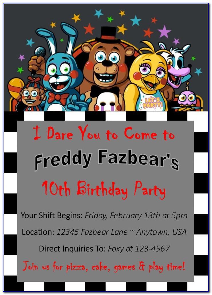 Printable Fnaf Birthday Cards