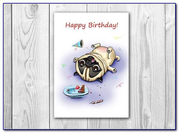 Pug Birthday Card Printable Free