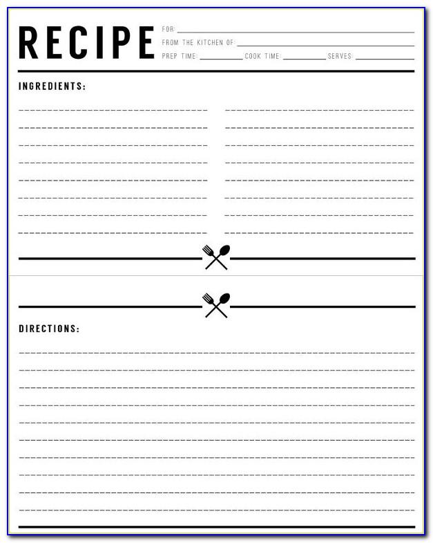 Recipe Card Template For Word 3x5