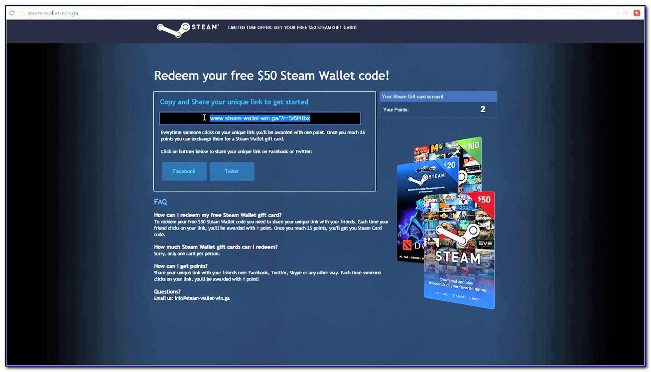 Steam Wallet Card Free